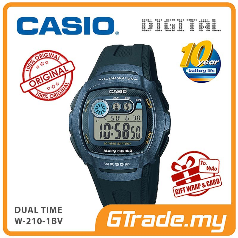 CASIO STANDARD W-210-1BV Digital Watch | 10 Yrs Batt. Dual Time