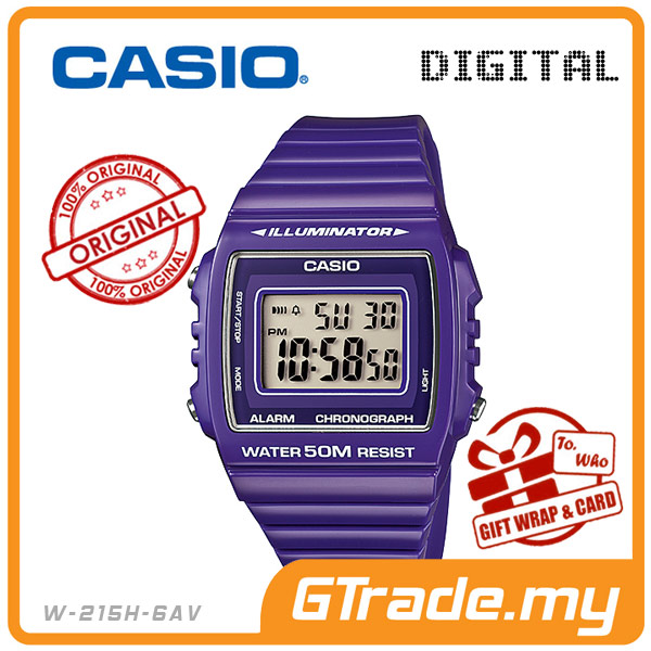 CASIO STANDARD W-215H-6AV Digital Watch | Alarm Water Resist 50M