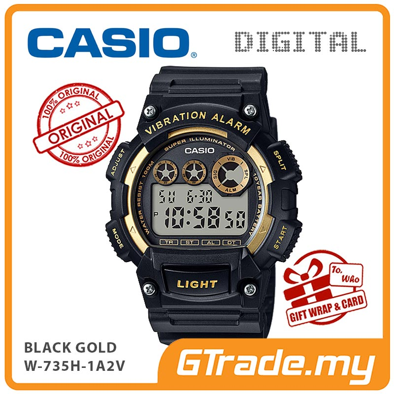 CASIO STANDARD W-735H-1A2V Digital Watch | 10Y Batt. Vibrate Alarm
