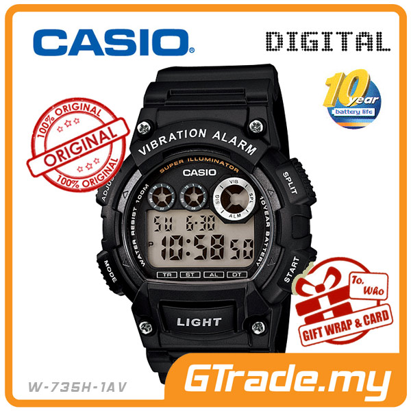 CASIO STANDARD W-735H-1AV Digital Watch | 10Y Batt. Vibrate Alarm