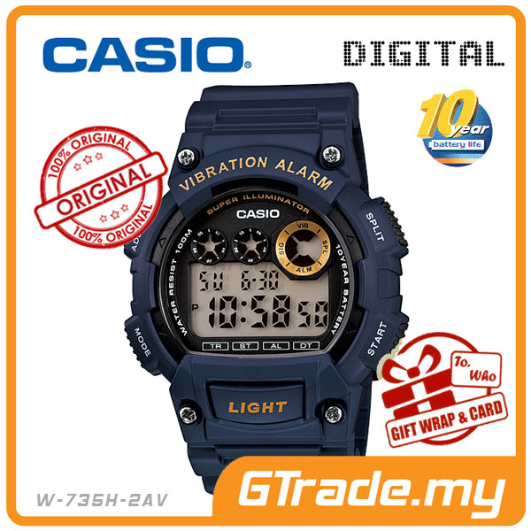 CASIO STANDARD W-735H-2AV Digital Watch | 10Y Batt. Vibrate Alarm