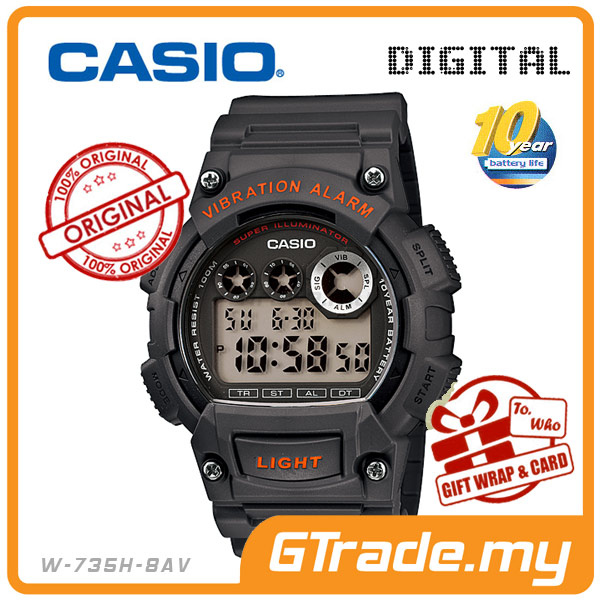 CASIO STANDARD W-735H-8AV Digital Watch | 10Y Batt. Vibrate Alarm