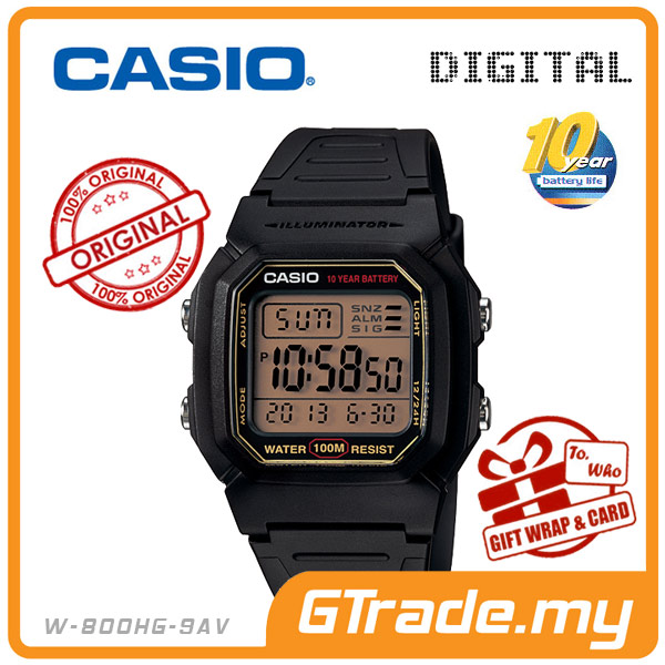 CASIO STANDARD W-800HG-9AV Digital Watch | Classic Look 10Y Batt.