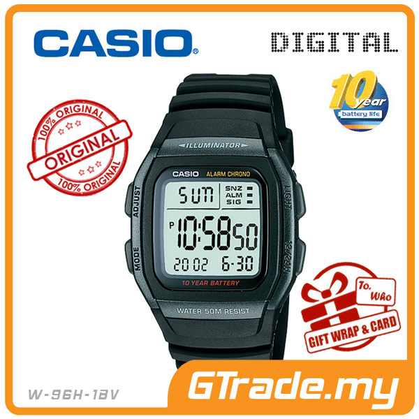 CASIO STANDARD W-96H-1BV Digital Watch | Classic Green LED 10Y Batt.