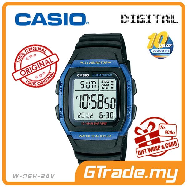 CASIO STANDARD W-96H-2AV Digital Watch | Classic Green LED 10Y Batt.
