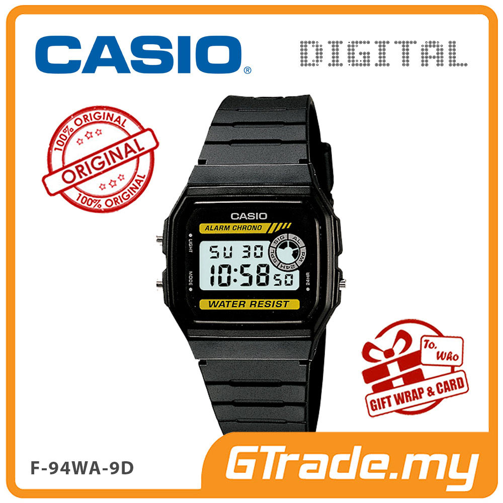 CASIO VINTAFE F-94WA-9D Digital Watch | Square Face 7 Yrs Batt.