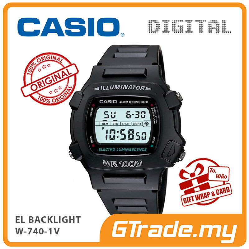 CASIO W-740-1V Classic Digital Watch 100M Water EL Backlight