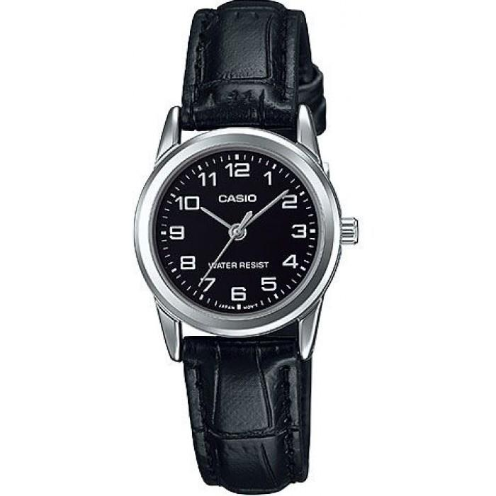 Casio Women's Black Leather Strap Watch LTP-V001L-1BUDF