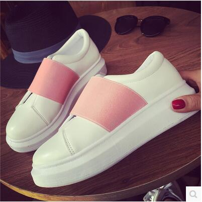 Casual spring autumn flat muffin thick sole white shoe