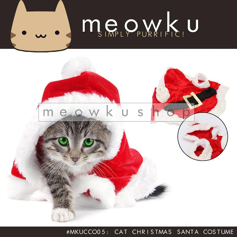 Cat Christmas Santa Costume (Cute Pet Dog Outfit Suit Baju Kucing)
