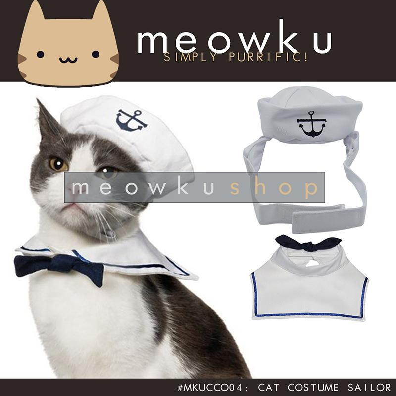 Cat Costume Sailor (Cute Pet Dog Costume Navy Captain Baju Kucing)