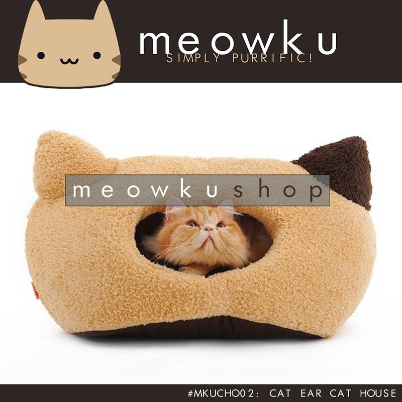 Cat Ear Cat House (High Quality Pet Dog House Cave Warm Soft Wool Bed)