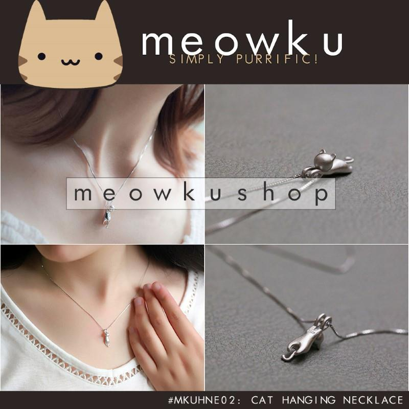 Cat Hanging Necklace (Stylish Cute Woman Jewellery Silver Gift Kucing)