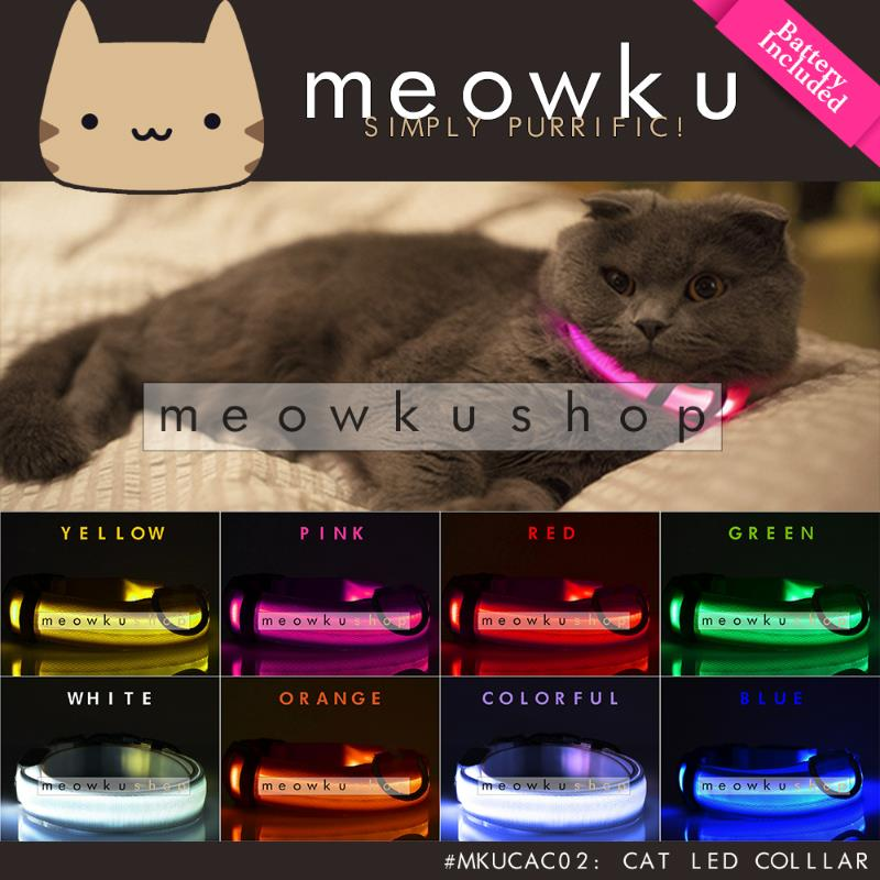 Cat LED Collar (Adjustable Bright Light Safety Pet Dog with Battery)
