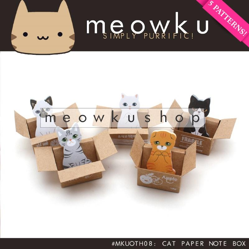 Cat Sticky Note with Box (Mini Kitty Cute Notepad Memo Paper Decor)