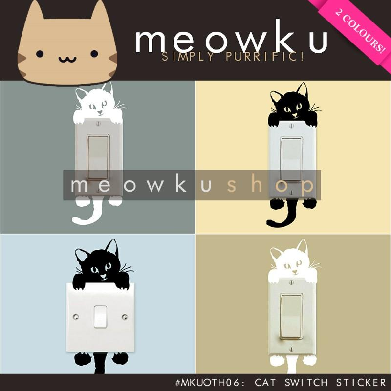 Cat Switch Sticker (DIY Cute Easy Stickers Wall Home Decor Kucing)