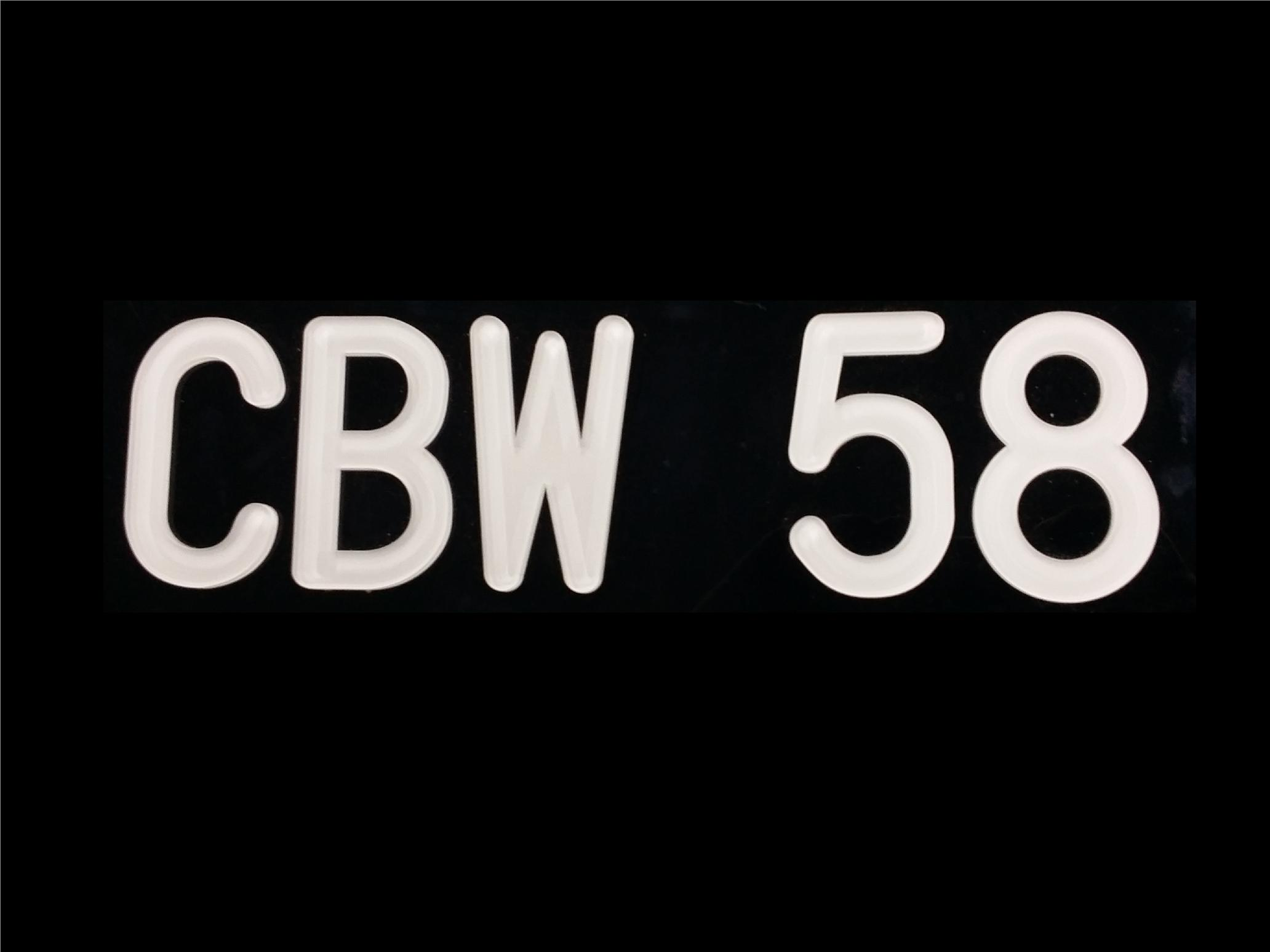 CBW FONT CRYSTAL ACRYLIC CAR NUMBER PLATE SET 2 - 7 ALPHABET