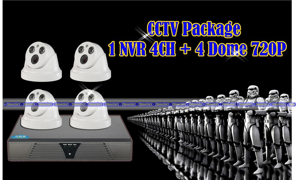 CCTV NVR 4CH Dome 720P Package Free Postage