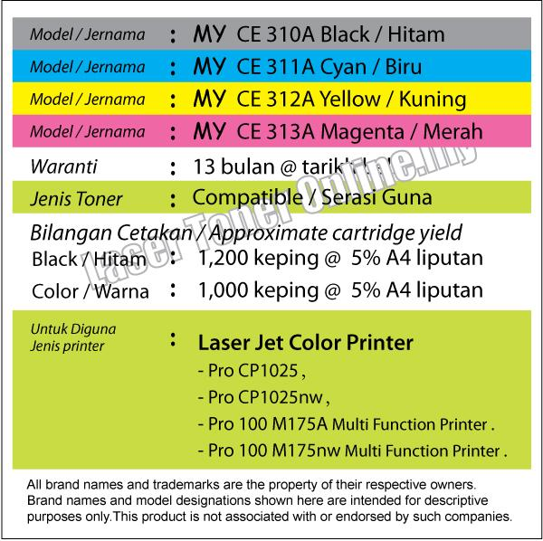 CE310A Black or Color Compatible HP LaserJet Pro CP1025 CP1025nw M175