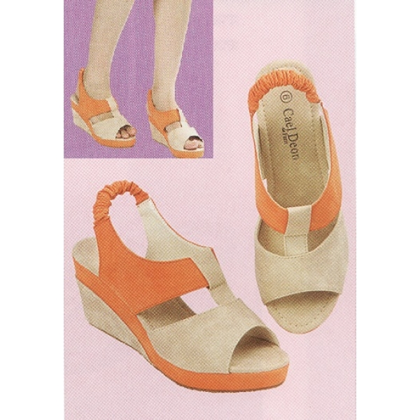 "**CELLY**2 1/2"" Ladies High Heel Wedges Shoe (Orange)"