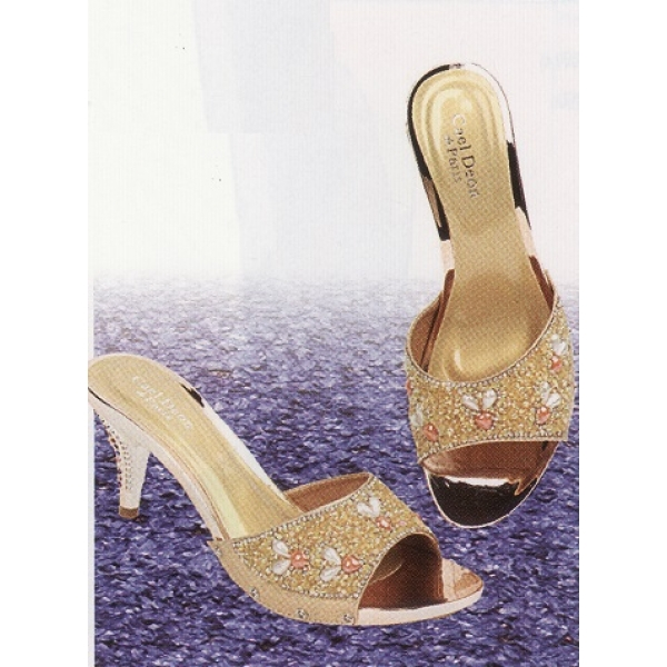 "**CELLY**2.5"" Ladies High Heel Sandal Shoe (Gold)"