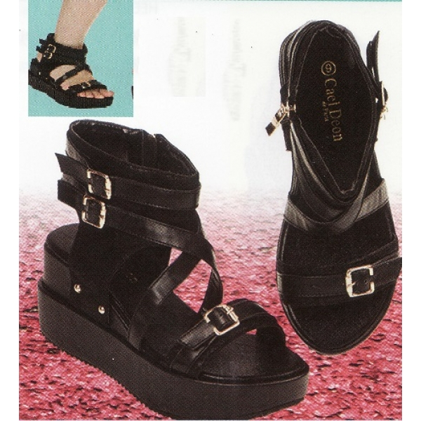 "**CELLY**2"" Ladies High Heel Wedges Shoe (Black)"