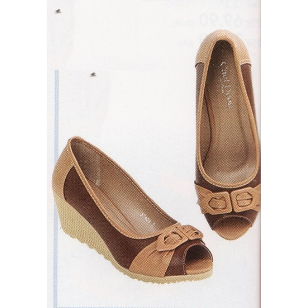 "**CELLY**2"" Ladies High Heel Wedges Shoe (Brown+Almond)"