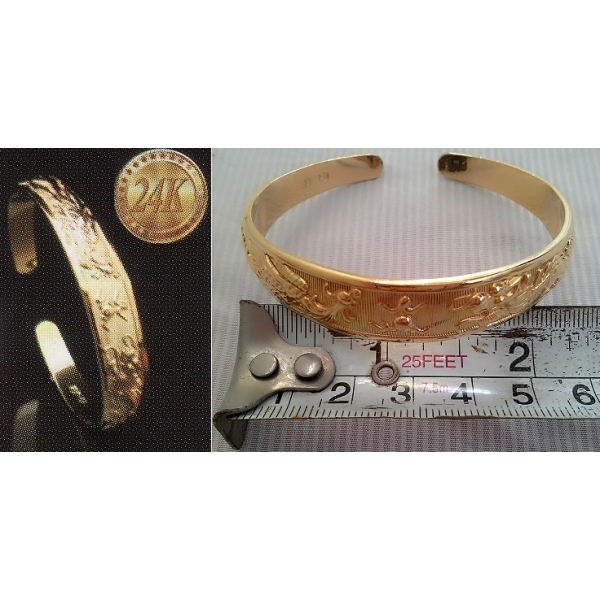 **CELLY**  24K GOLD PLATED DRAGON AND PHEONIX BANGLE