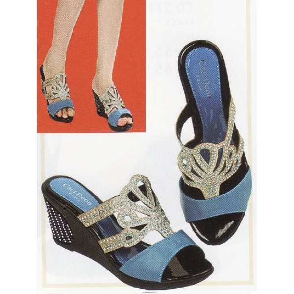 "**CELLY**3"" Ladies High Heel Sandal Shoe (Blue)"