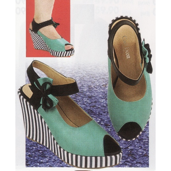 "**CELLY**3"" Ladies High Heel Wedges Shoe (Turquoise)"