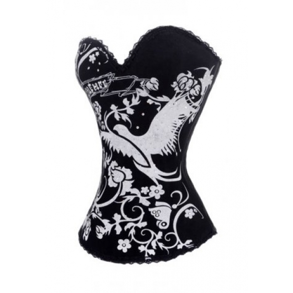 **CELLY**Animal and Flower Printed Burlesque Corset