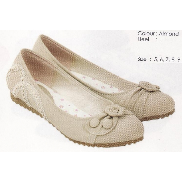 **CELLY** AUTHENTIC LADIES FLAT SHOE (ALMOND)