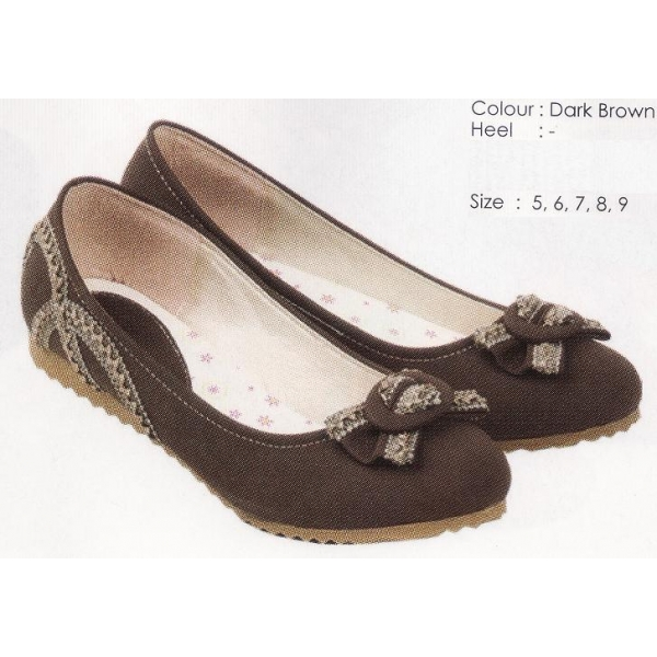 **CELLY** AUTHENTIC LADIES FLAT SHOE (DARK BROWN)