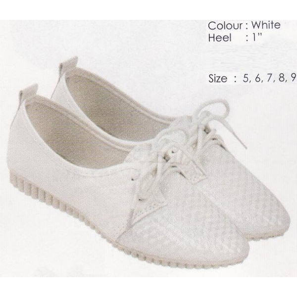 **CELLY** AUTHENTIC LADIES FLAT SHOE (WHITE)
