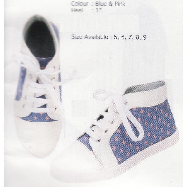 **CELLY** AUTHENTIC LADIES SPORT/ SNEAKER SHOE (BLUE & PINK)