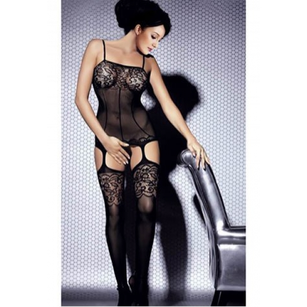 **CELLY** Black Floral Bouquet Lace and Mesh Bodystocking