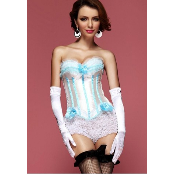 **CELLY**Blue Moon Burlesque Corset With White Ruffle Panties