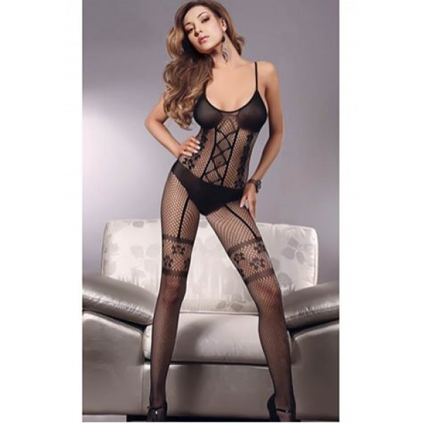 **CELLY** Criss-Cross Front Faux Garter Bodystocking
