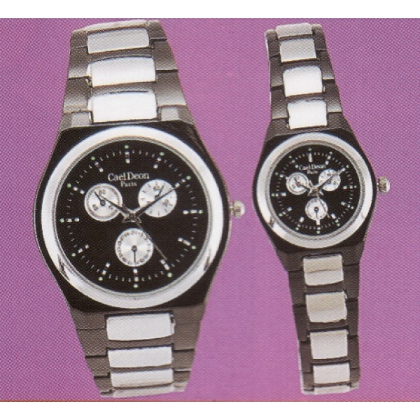 **CELLY**Fashionable Couple Watch Set (Silver+Black)