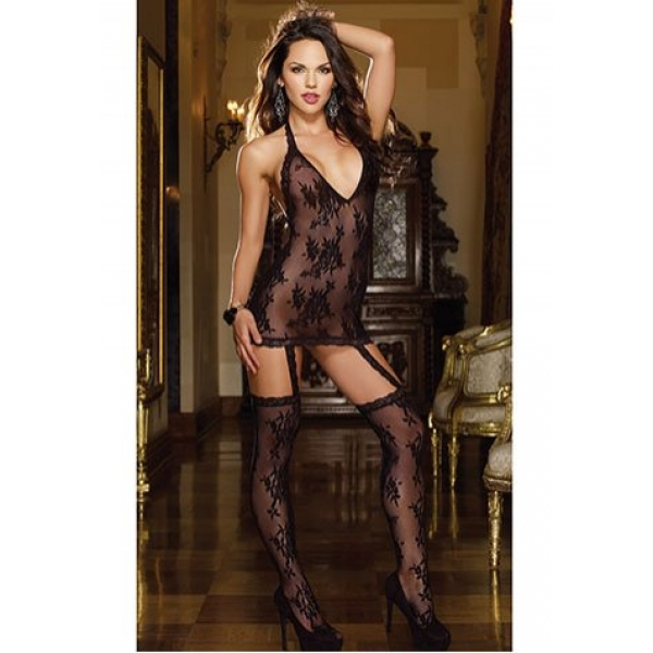 **CELLY** Floral Lace Halter Dress with Stockings