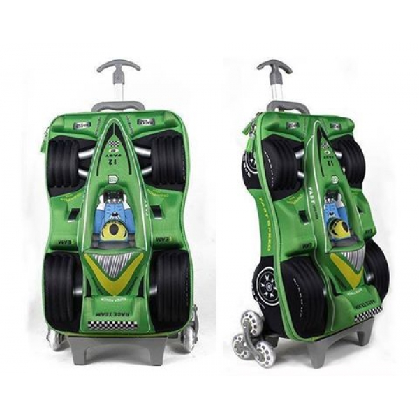 **CELLY** GREEN RACE CAR TROLLEY 3D 3 WHEELS SCHOOL BAG