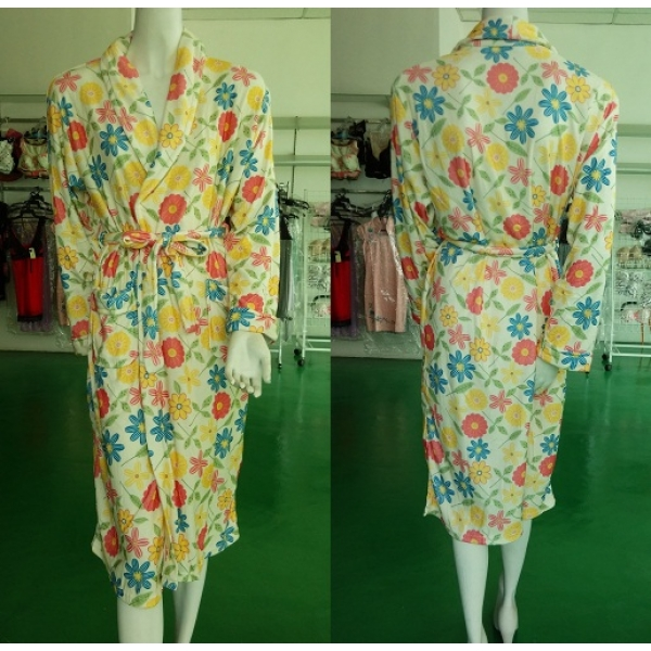 **CELLY**HIGH QUALITY LONG SLEEVE BATHROBE (UNISEX) (FLOWER)