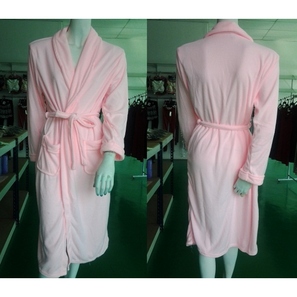 **CELLY**HIGH QUALITY LONG SLEEVE BATHROBE (UNISEX) (PINK)