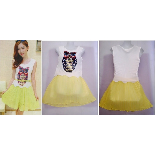 **CELLY**IMPORTED 2 IN 1 3D OWL DRESS (YELLOW)