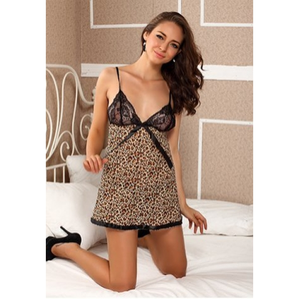 **CELLY**Imported Animal Print And Lace Babydoll-Leopard