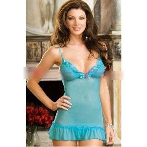 **CELLY** Imported Aqua Blue Lace Chemise with Thong