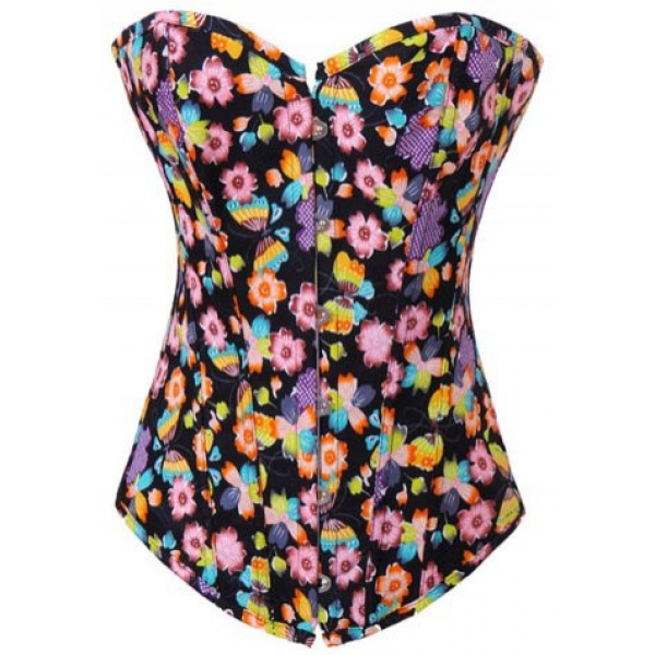 **CELLY** IMPORTED BEAUTY FLORAL FANTASY DENIM CORSET