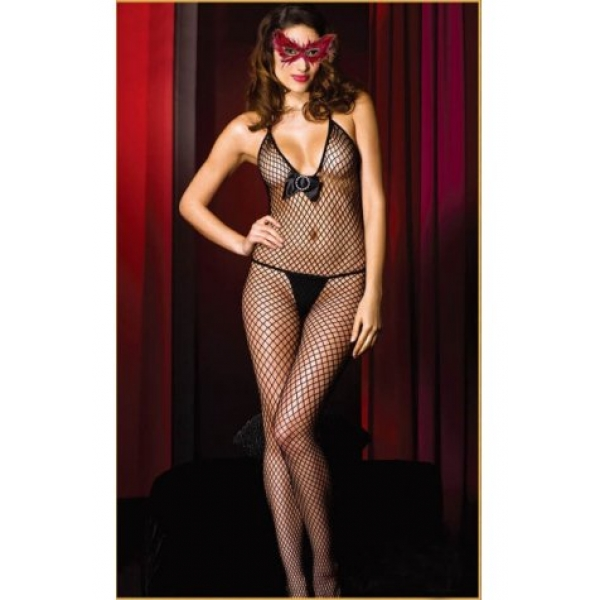 **CELLY** IMPORTED BLACK FENCE NET BODYSTOCKING
