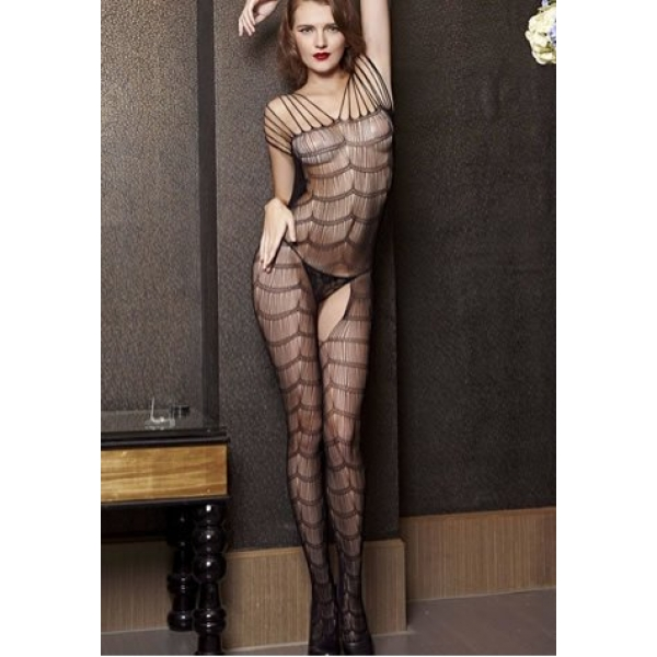 **CELLY** IMPORTED BLACK MESH OPEN CROTCH STOCKING