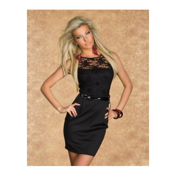 **CELLY**Imported Black sexy lace club dress